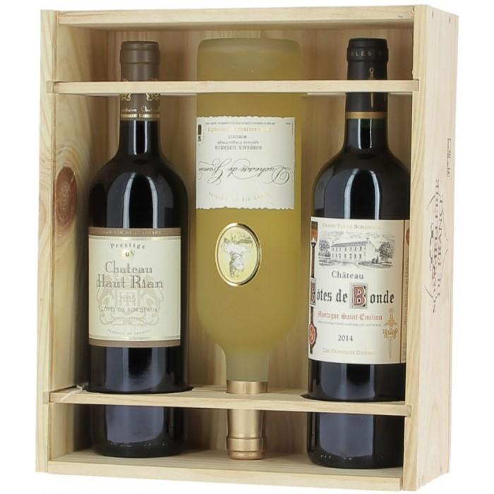caisse bois bordeaux 3 bouteilles id e cadeau. Black Bedroom Furniture Sets. Home Design Ideas