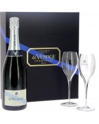 Champagne Devenoge Cordon bleu en coffret 2 flûtes