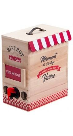 """Porte bag-in-box en bois """"Bistrot des Amis"""""""