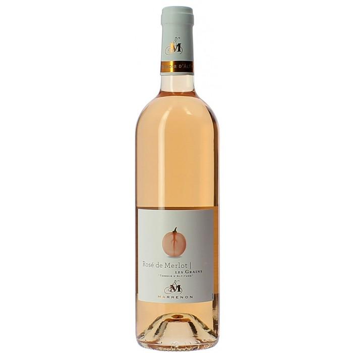 Domaine Marrenon Les Grains Merlot Rosé - Vins en bouteilles de 75cl - sommellerie de France